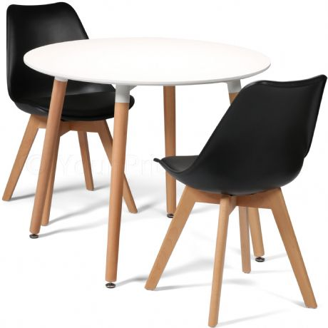 Toulouse Tulip Eiffel Designer Dining Set White Round Table & 2 Black Chairs Sale Now On Your Price Furniture